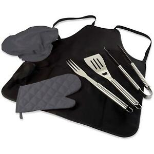 6 pc BBQ Apron Heavy Duty Stainless Steel Grill Tool Utensil Set w/ Chef Hat