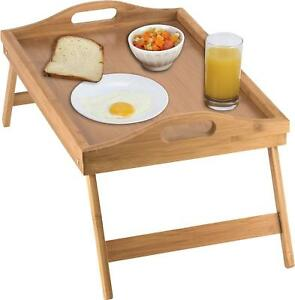 Bed Tray table with folding legs, and breakfast tray Bamboo table and bed tray
