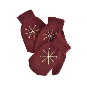 Knitted Snowflake Mitten Christmas Ornaments Burgundy 4-Inch 3-Piece