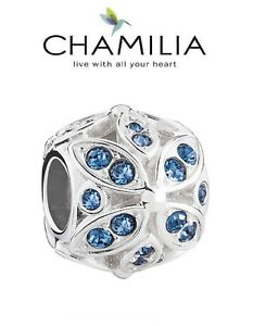 CHAMILIA 925 sterling silver Swarovski FLORAL ACCENT BLUE charm bracelet bead