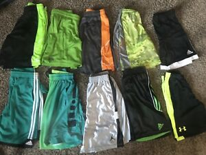 Boysteens Athletic Shorts Nike Addidas Under Armour Size LXL Youth 10 Pairs