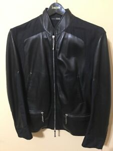 Gianfranco Ferre Black Man's Leather Jacket  Made In Italy. Size EU 50