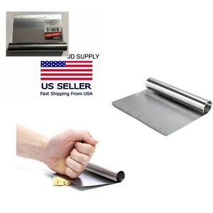 New Stainless Steel Bench Scraper Chopper With Ruler 6x4.5 in. Free Shipping.