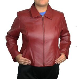Women's Soft Genuine Leather Short Zipper Closure Fitted Big Sizes jacket