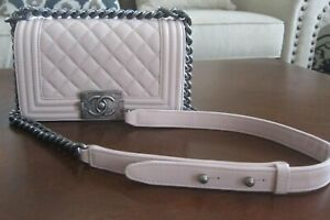 BRAND NEW AUTHENTIC CHANEL LIGHT PINK QUILTED LEATHER CROSS BODY BAG  FLAP BAG