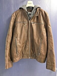 Guess Faux -Leather Detachable Hood Motocycle Men Motorcycle Men Jacket  Size L