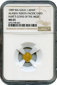 1909 WA Gold 1 4 Alaska Yukon Pacific Expo. NGC MS65