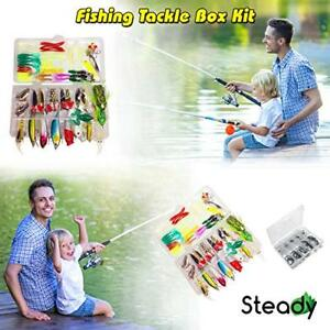 Fishing Tackle Beginner Kit 183 Pcs Assortment Novice Bass Worms Lure Trout
