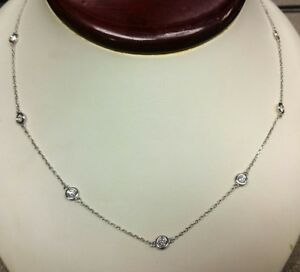 14K WG elegant 1.60ct diamond by the yard 10-stone chain necklace