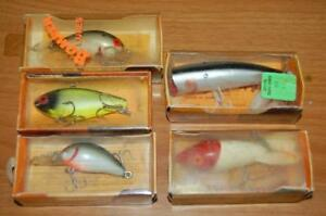 5  VINTAGE BOMBER FISHING WALLEYE POLE LURE PINFISH CRANK BAIT IN BOX LURES