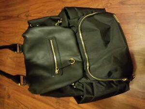 Skip Hop Chelsea Downtown Chic Baby Diaper Backpack Bag Black Gold Faux Leather