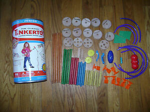 HASBRO TINKERTOY CONSTRUCTION SET JUNIOR BUILDER 6566 PIECES BOX REAL WOOD RARE