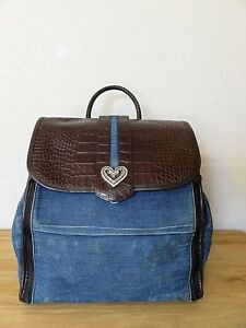 Brighton Backpack Diaper Bag Blue Denim & Brown Leather Handbag