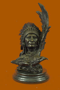 Bronze Sculpture Native Indian Chief Bust 12Lbs Western Figurine Statue Decor