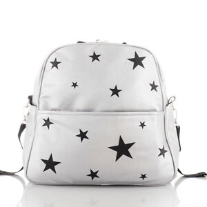 Mother Baby Diaper Bag PU Leather Nappy Maternity Silver Stars Newborn Backpack