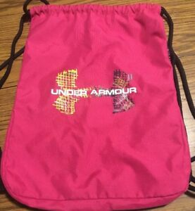 UNDER ARMOUR Cinch Bag 18x14 Backpack Gym Bagpack EUC Hot pink Multi