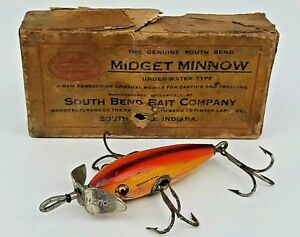 Vintage South Bend Midget Minnow 901 Old Wooden Fishing Lure w Distressed Box