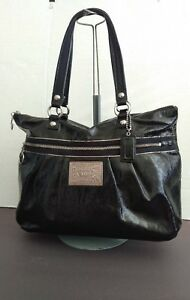 Coach Poppy Large Black Patent Leather Shoulder Tote Handbag 15791