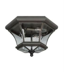 Semi Flush Mounts 3 Lights With Clear Beveled Glass Bronze size 13 in 180 Watts