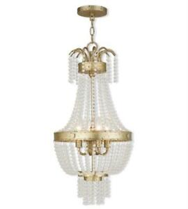 Pendants Porch 4 Light With Clear Crystals Hand Applied Winter Gold 13 in 240 W