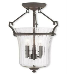 Flush Mounts 3 Light With Hand Crafted Fluted Clear Glass Bronze 13in 180 Watts