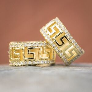 Yellow Gold Plated 925 Sterling Silver Iced  Cz Greek Style Huggie Hoop Earrings