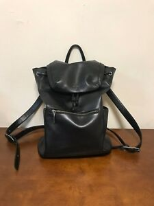 Matt & Nat Men Black Leather Backpack
