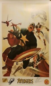 Stan Lee & Alex Ross Signed The Avengers MARVEL Limited Lithograph - JSA COA