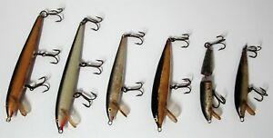 VINTAGE LOT OF 6 WOODEN FISHING LURES - RAPALA FLOATING FINLAND