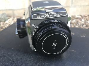 Vintage Zenza Bronica Film Camera In Case With Lenses and Leather Case