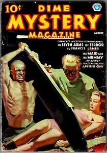 DIME MYSTERY MAGAZINE - August 1937 Pulp - Shudder Classic Paper-Cutter Cover!