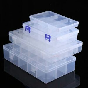 Adjustable Transparent Plastic Storage Box For Small Component Jewelry Tool Case