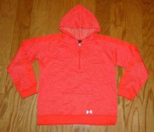 Under Armour 14 Zip Hoodie Size YXL Loose Fit Cold Gear Neon Pink UA Girl's
