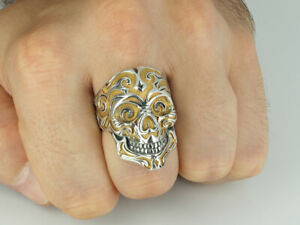 Sterling Silver Gold Plated Skull Ring by Fedko Jewelry
