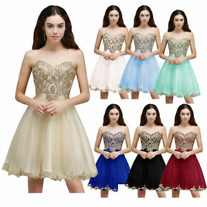 US Stock Champagne Homecoming Cocktail Party Dress Short Prom Ball Gown 2 4 6 8
