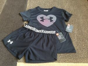 Girls Under Armour black short sleeve logo in heart and shorts summer size 5(NWT
