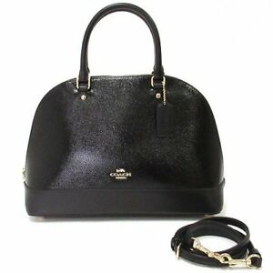 NWT Coach F31352 Sierra Satchel in Crossgrain Patent Leather Handbag Black