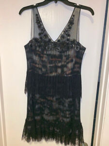 NEW BCBG GILLY Dress. Black Size 4. Lace Beading Sequin Tiered GORGEOUS!