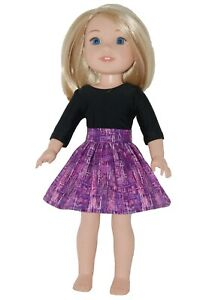 SKIRT handmade to fit 14.5 Wellie Wishers Doll Clothes by TKCT purple lines $5.99