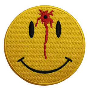 Bloody Bullet Smiley Embroidered Iron On Patch - 3 INCH Shot Emoji 051-E