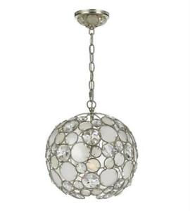 Mini Chandelier 1 Light With Antique Silver White Capiz Shell Crystal 13in 100W