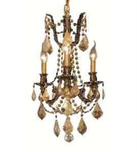 Pendants Porch 3 Light With Golden Teak Crystal Royal Cut French Gold 13in 180W