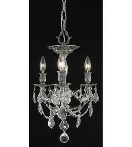 Flush Mounts 3 Light With Clear Crystal Spectra Pewter size 13 in 180 Watts
