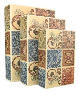 NEW Wood Antique Book Box Set of 3 Storage Kensington FREE SHIPPING $15.00