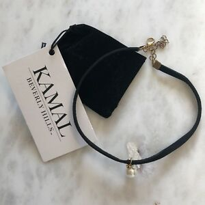 KAMAL BEVERLY HILLS Black LEATHER PEARL CHOKER Necklace NWT