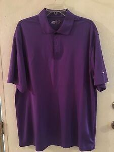 Men's Size XL Collared Purple Nike Dry-Fit Athletic Golf Polo  Shirt (z)