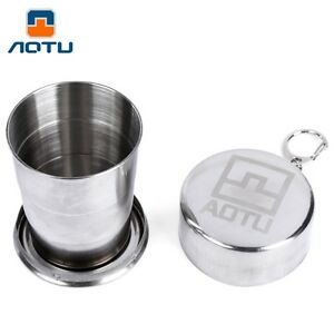 Portable Stainless Steel Folding Cup Telescopic Collapsible Travel Camping Accs