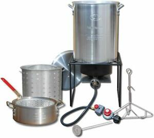 Outdoor Turkey Fryer Deep Fry Pot Kit Steamer Thermometer Corn Lobster Stockpot