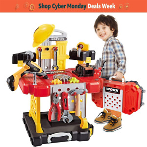 Construction Toy Workbench for Toddlers 110 Pieces Kids Power Tool Bench Set wi