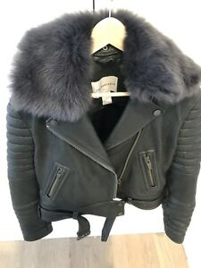 The Arrivals Rainier LMTD Structured Moto Leather Jacket Large Fur Collar